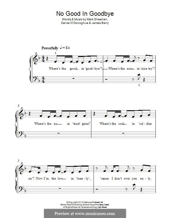 No Good in Goodbye (The Script): Для фортепиано by Danny O'Donoghue, Mark Sheehan, James Barry
