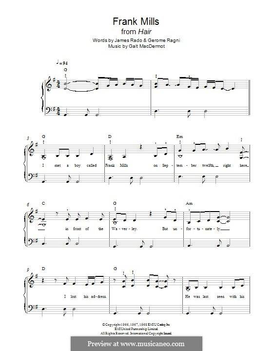 Frank Mills: Для фортепиано by Galt MacDermot