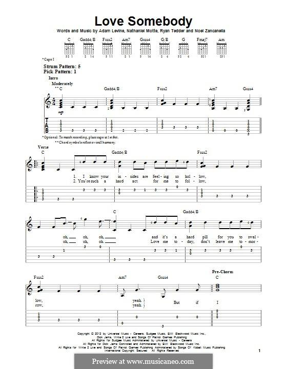 Love Somebody (Maroon 5): Гитарная табулатура by Adam Levine, Nathaniel Motte, Noel Zancanella, Ryan B Tedder