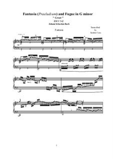 Фантазия и фуга No.12 соль минор (Большая), BWV 542: Аранжировка для фортепиано by Иоганн Себастьян Бах