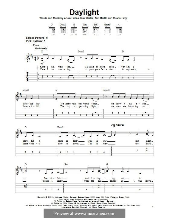 Daylight (Maroon 5): Гитарная табулатура by Adam Levine, Mason Levy, Max Martin, Sam Martin