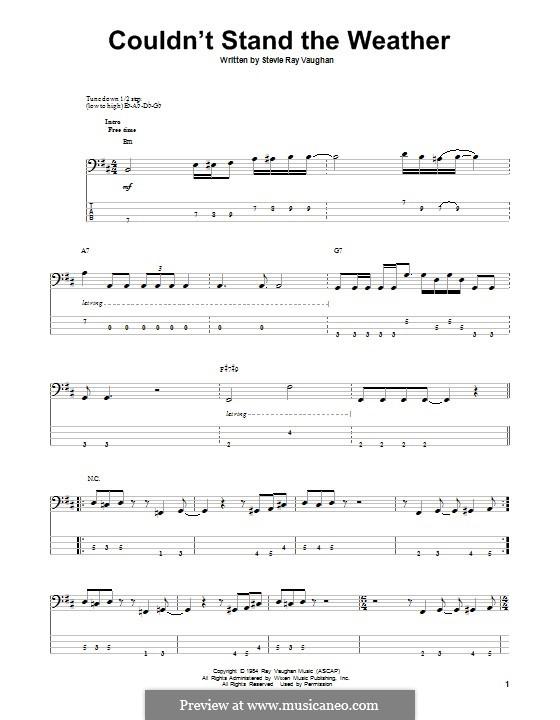 Couldn't Stand the Weather: Для бас-гитары с табулатурой by Stevie Ray Vaughan