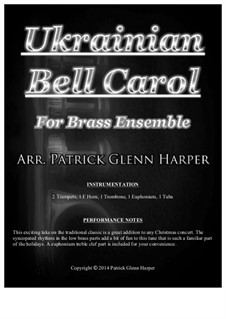 Carol of the Bells: For brass ensemble by Mykola Leontovych