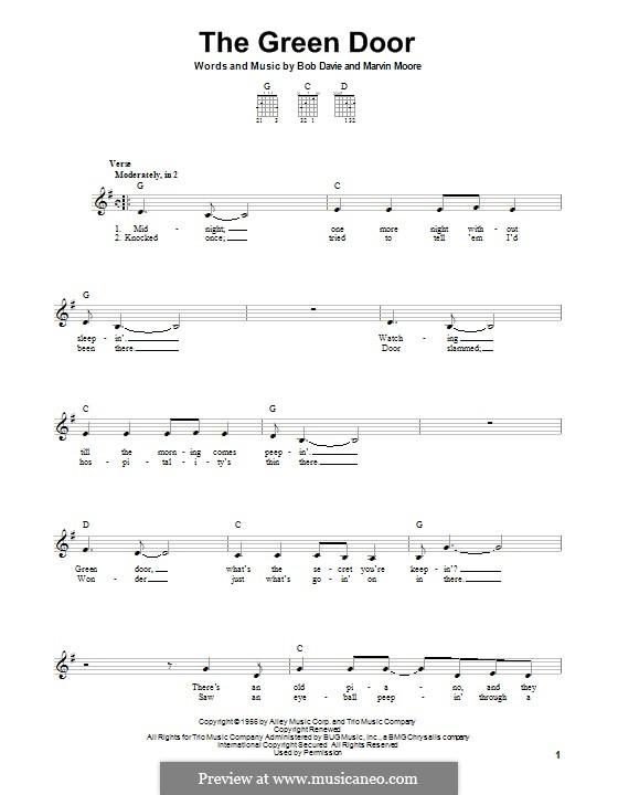 The Green Door (Jim Lowe): Гитарная табулатура by Bob Davie, Marvin Moore