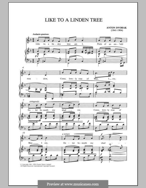 Like to a Linden Tree: Для голоса и фортепиано by Антонин Дворжак