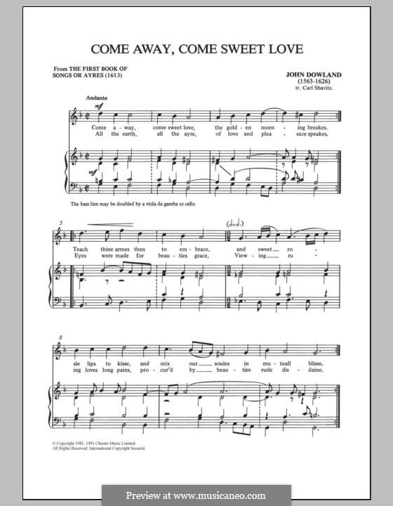 Come Away, Come Sweet Love: Для голоса и фортепиано by Джон Доуленд
