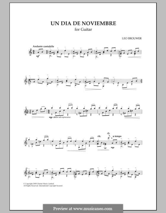 Un dia de Noviembre: Гитарная табулатура by Leo Brouwer