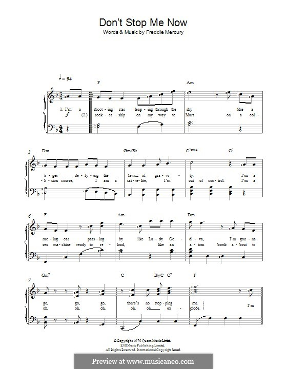 Don't Stop Me Now (Queen): Для голоса и фортепиано by Freddie Mercury