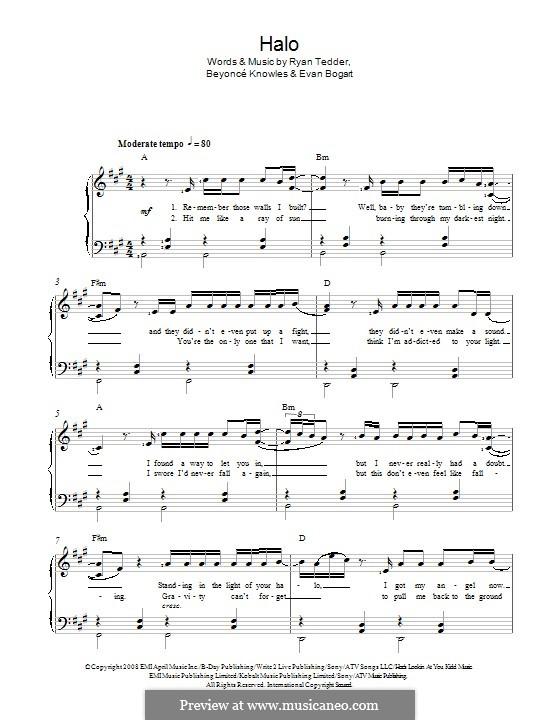 Halo: Для голоса и фортепиано by Beyoncé, Evan Kidd Bogart, Ryan B Tedder