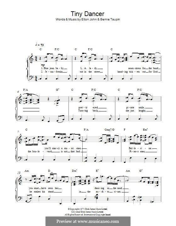 Tiny Dancer: Для голоса и фортепиано by Elton John