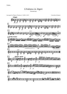 Итальянка в Алжире: Overture, for oboe, violin, viola and cello - violin part by Джоаккино Россини