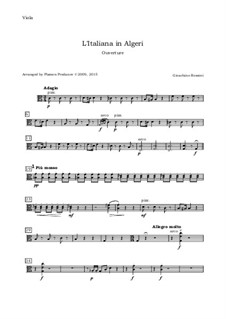 Итальянка в Алжире: Overture, for oboe, violin, viola and cello - viola part by Джоаккино Россини