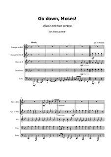 Go Down Moses: For brass quintet - score and parts by folklore