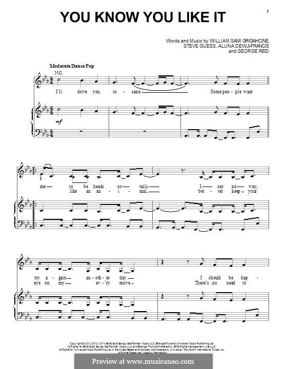 You Know You Like It (DJ Snake & AlunaGeorge): Для голоса и фортепиано (или гитары) by William Grigahcine, Steve Guess, George Reid, Aluna Dewji-Francis