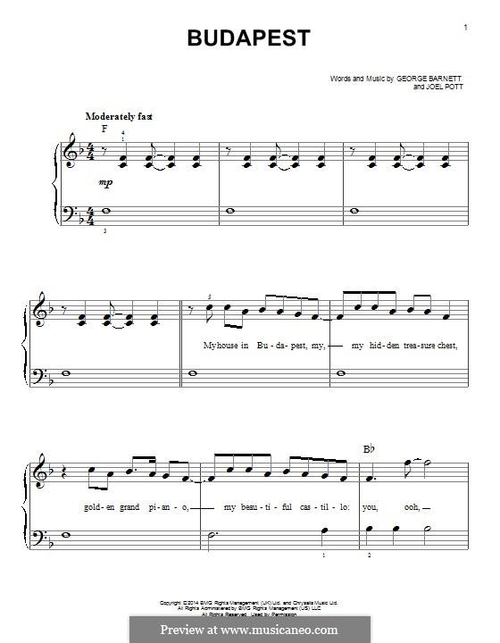 Budapest: Для фортепиано by Joel Pott, George Ezra Barnett