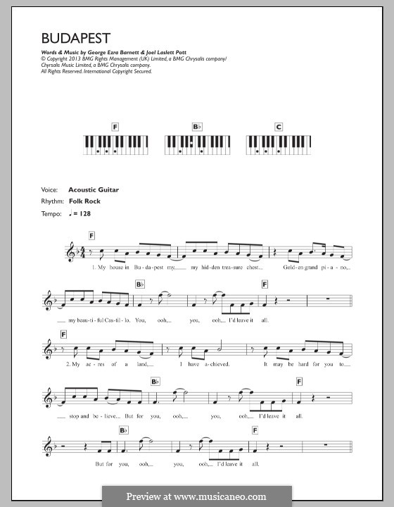 Budapest: Для клавишного инструмента by Joel Pott, George Ezra Barnett