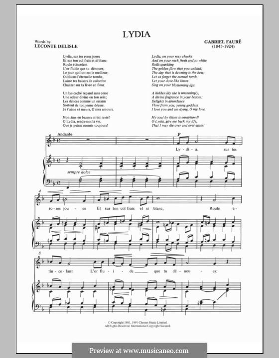Lydia: Для голоса и фортепиано by Габриэль Форе