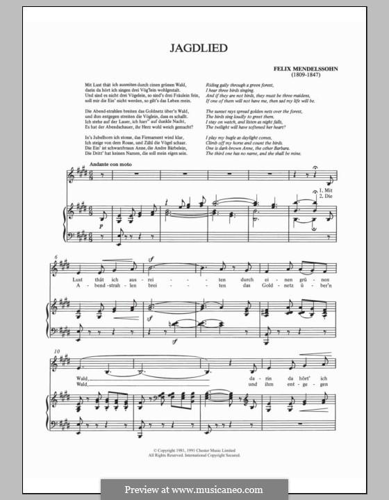 Шесть песен, Op.59: No.6 Jagdlied by Феликс Мендельсон-Бартольди