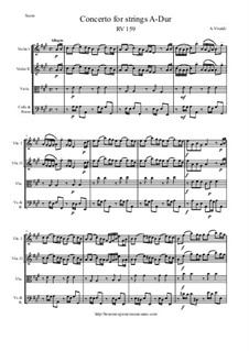 Concerto for Strings in A Major, RV 159: Score and parts by Антонио Вивальди
