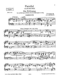 Die Erlösung: Для фисгармонии и фортепиано – партия фисгармонии by Рихард Вагнер