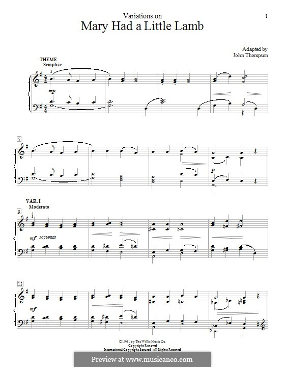 Mary Had a Little Lamb: Variations, for piano by folklore