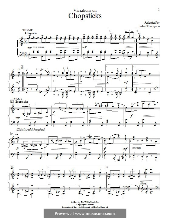 Chopsticks: Variations, for piano by Arthur De Lulli
