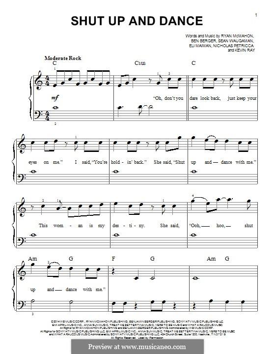Shut Up and Dance (Walk the Moon): Для фортепиано by Nicholas Petricca, Ryan McMahon, Eli Maiman, Ben Berger, Sean Waugaman