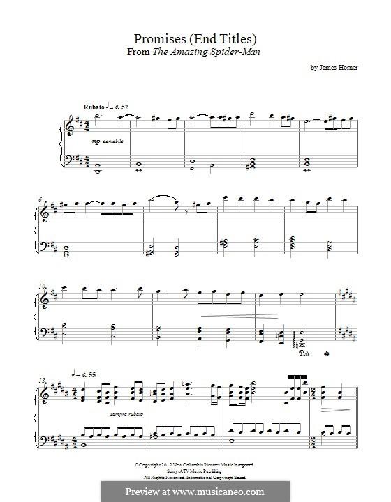 Promises - Spider-Man End Titles: Для фортепиано by James Horner