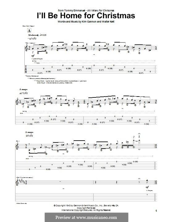I'll Be Home for Christmas: Гитарная табулатура by Kim Gannon, Walter Kent