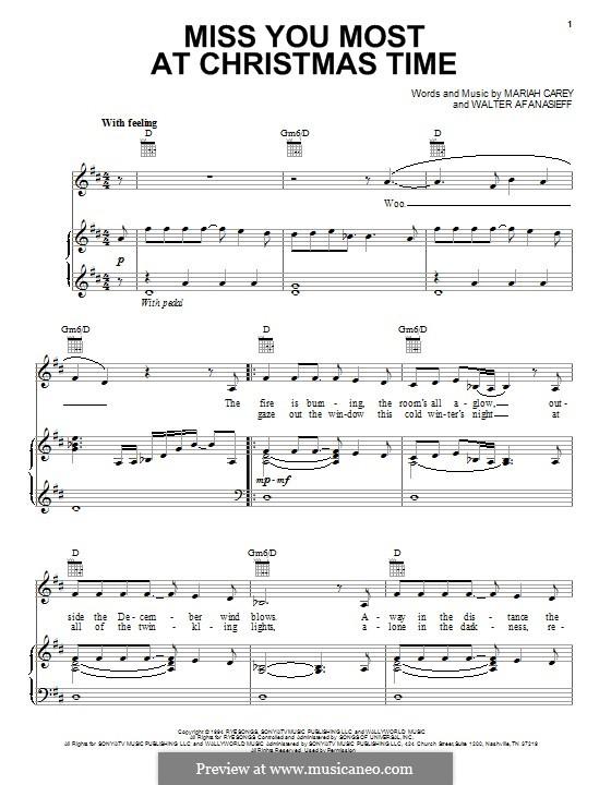 Miss You Most at Christmas Time (Mariah Carey): Для голоса и фортепиано (или гитары) by Walter Afanasieff
