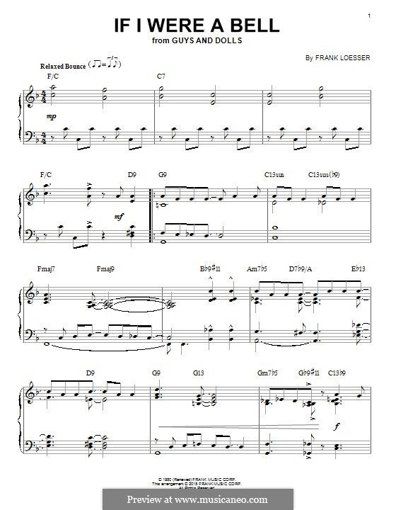 If I Were a Bell: Для фортепиано by Frank Loesser