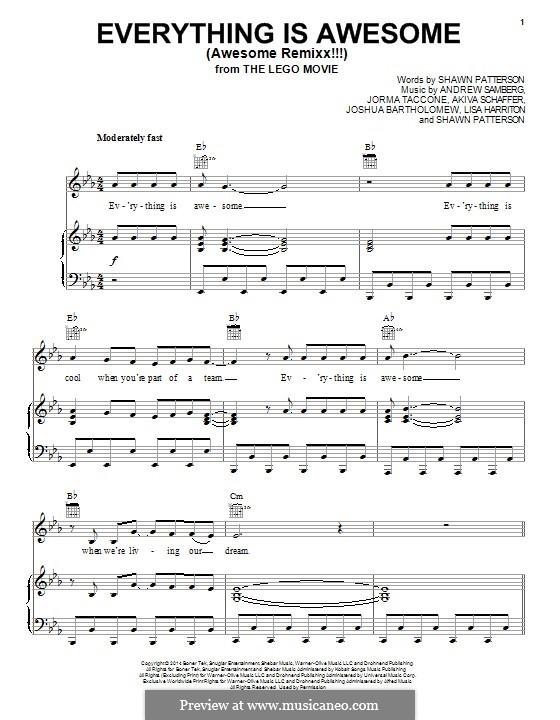 Everything is Awesome (Awesome Remixx!!!): Для голоса и фортепиано (или гитары) by Shawn Patterson, Akiva Schafer, Andrew Samberg, Jorma Taccone, Lisa Harriton, Joshua Bartholomew