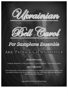 Carol of the Bells: For saxophone ensemble by Mykola Leontovych