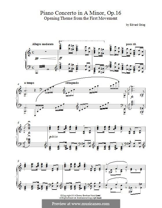 Концерт для фортепиано с оркестром ля минор, Op.16: Opening theme. Version for piano by Эдвард Григ
