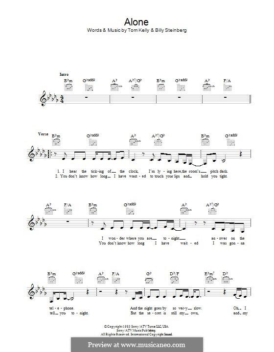 Alone: Текст, аккорды by Billy Steinberg, Tom Kelly
