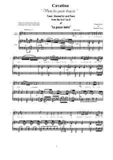 Сорока-воровка: Vieni fra queste braccia, for tenor and piano by Джоаккино Россини