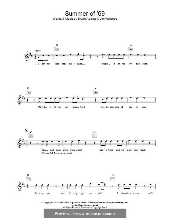 Summer of '69: Текст, аккорды by Bryan Adams, Jim Vallance
