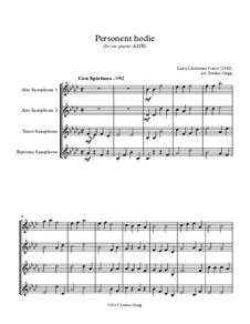 Personent Hodie (early Latin Carol): For sax quartet AATB by Unknown (works before 1850)