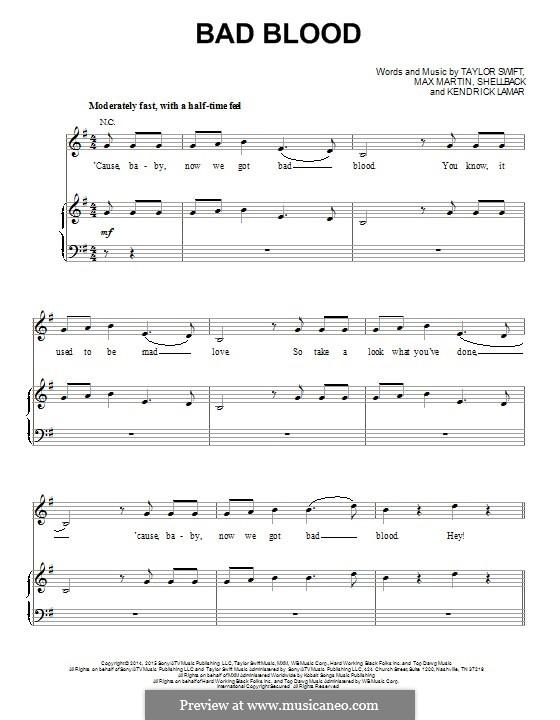 Bad Blood: Для голоса и фортепиано (или гитары) by Shellback, Max Martin, Taylor Swift