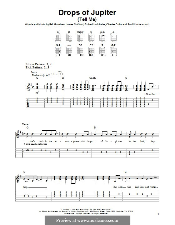 Drops of Jupiter / Tell Me (Train): Для гитары by Charlie Colin, Jimmy Stafford, Patrick Monahan, Rob Hotchkiss, Scott Underwood