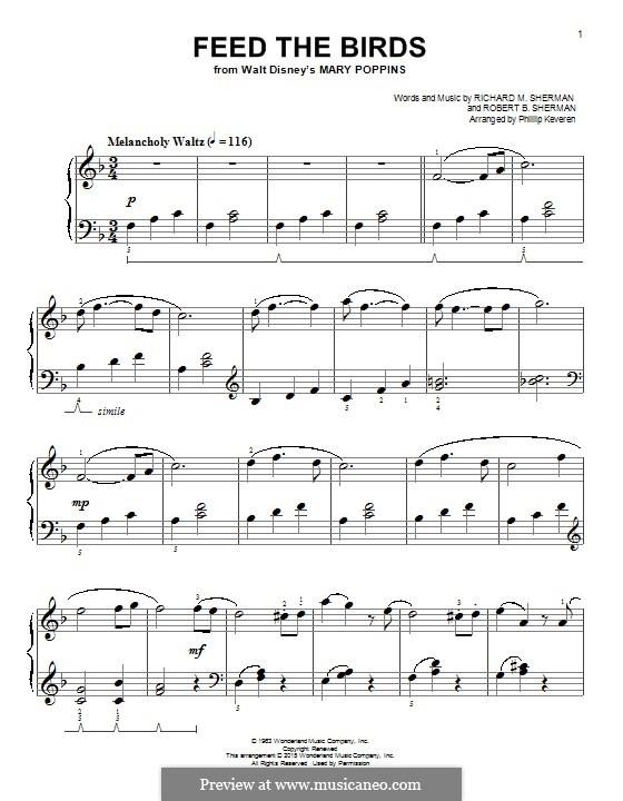 Feed the Birds (Tuppence a Bag): Для фортепиано by Richard M. Sherman, Robert B. Sherman