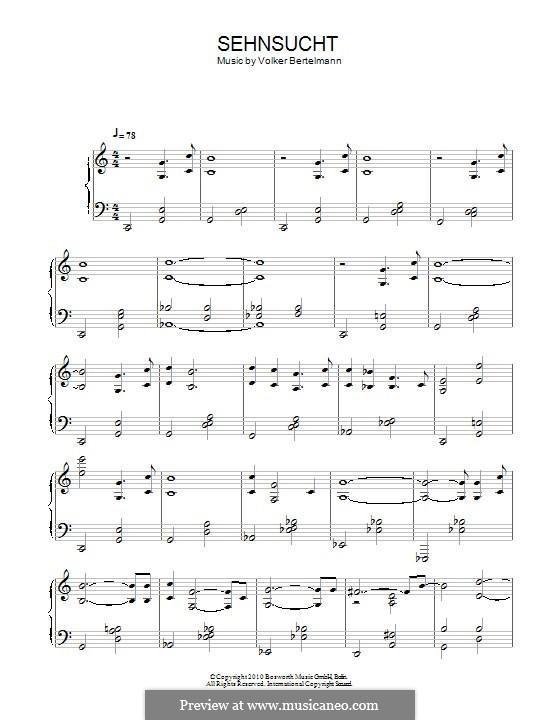 Sehnsucht (Hauschka): Для фортепиано by Volker Bertelmann