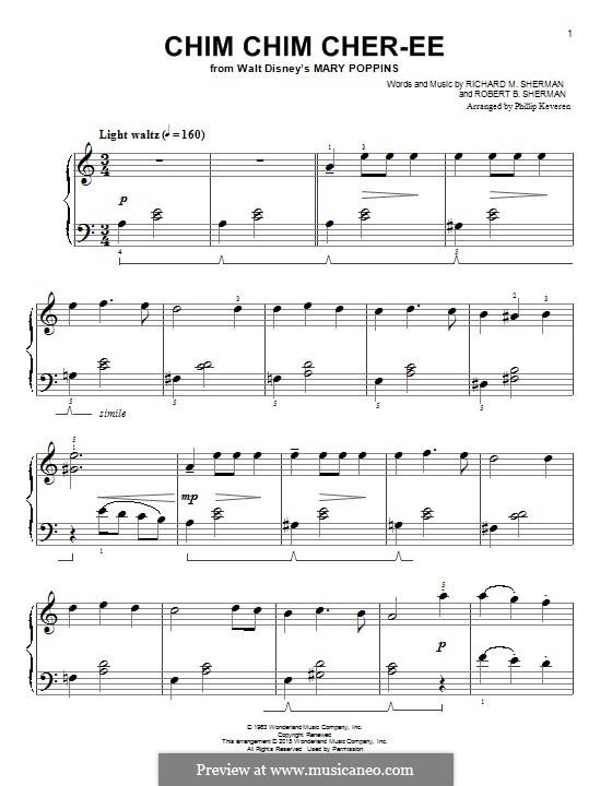 Chim Chim Cher-ee (from Mary Poppins): Для фортепиано by Richard M. Sherman, Robert B. Sherman
