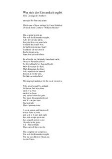 Harfenspieler I (The Harper's Song I), D.478 Op.12 No.1: No.1 Wer sich der Einsamkeit ergibt, for flute and piano by Франц Шуберт