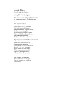An die Türen (I will creep up to the doors): Для кларнета и гитары by Франц Шуберт