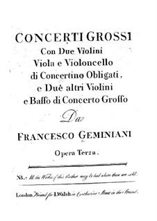 Шесть кончерти гросси, Op.3: Партии I и II скрипок и альта by Франческо Джеминиани