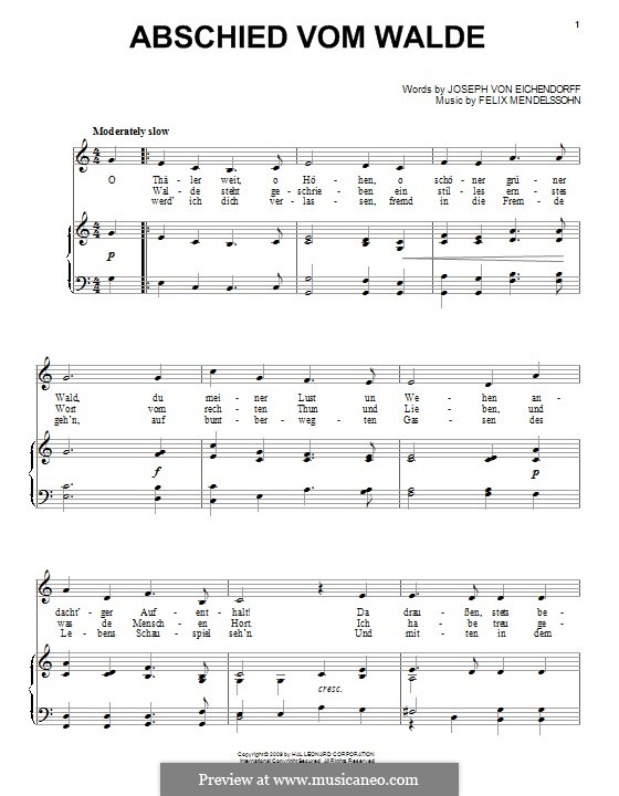 Felix Mendelssohn: Abschied Vom Walde: Для голоса и фортепиано (или гитары) by Феликс Мендельсон-Бартольди
