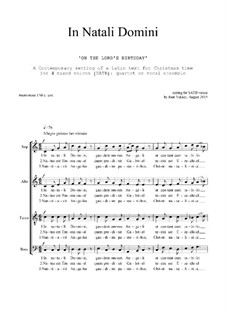 In Natali Domini: Christmas motet: SATB by Joan Yakkey
