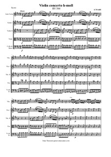 Concerto for Violin and Strings in B Minor, RV 384: Score and all parts by Антонио Вивальди