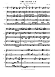 Concerto for Violin and Strings in B Minor 'Per Signora Anna Maria', RV 387: Score and all parts by Антонио Вивальди
